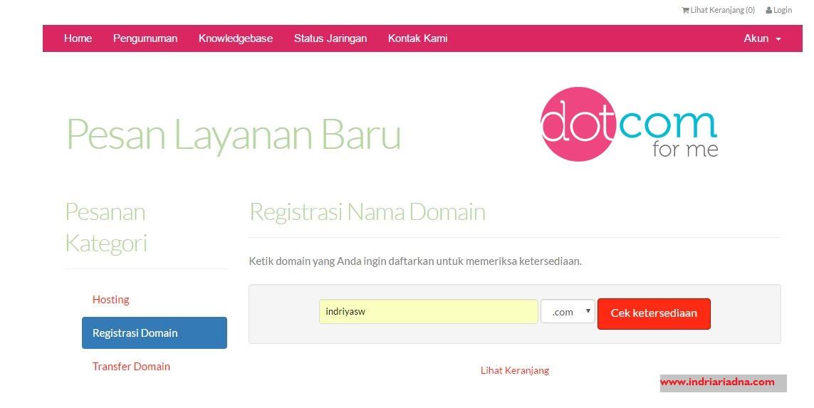 cara beli domain di dotcomforme