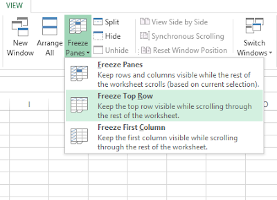 Freeze pane menu