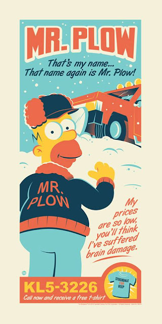 "The Simpsons ""Mr. Plow"" Screen Print by Dave Perillo x Dark Ink Art x Acme Archives"