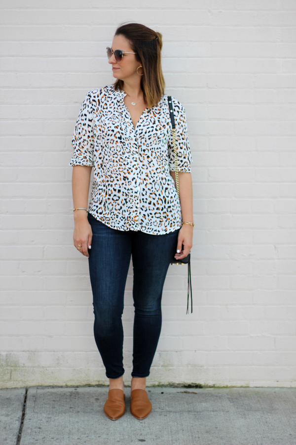 animal print top, mid rise skinny jeans, north carolina blogger, style on a budget, mom style