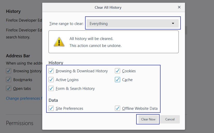 firefox clear all history window