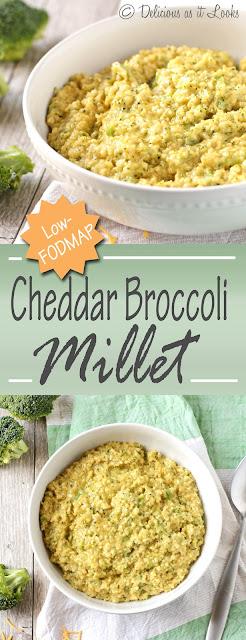 Low-FODMAP & Gluten-Free Cheddar Broccoli Millet  /  Delicious as it Looks