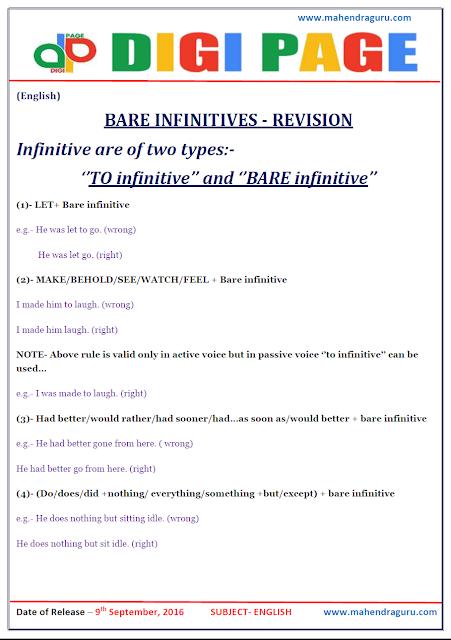 DP   Bare Infinitives   09-Sep -16