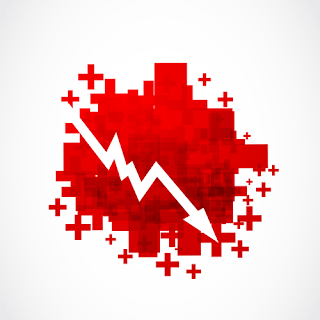 red pixelated image made out of plus signs with a charted arrow going down - technitrader