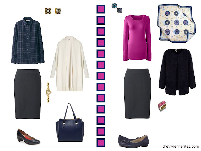 2 outfits in navy, hot pink and white, including a navy skirt