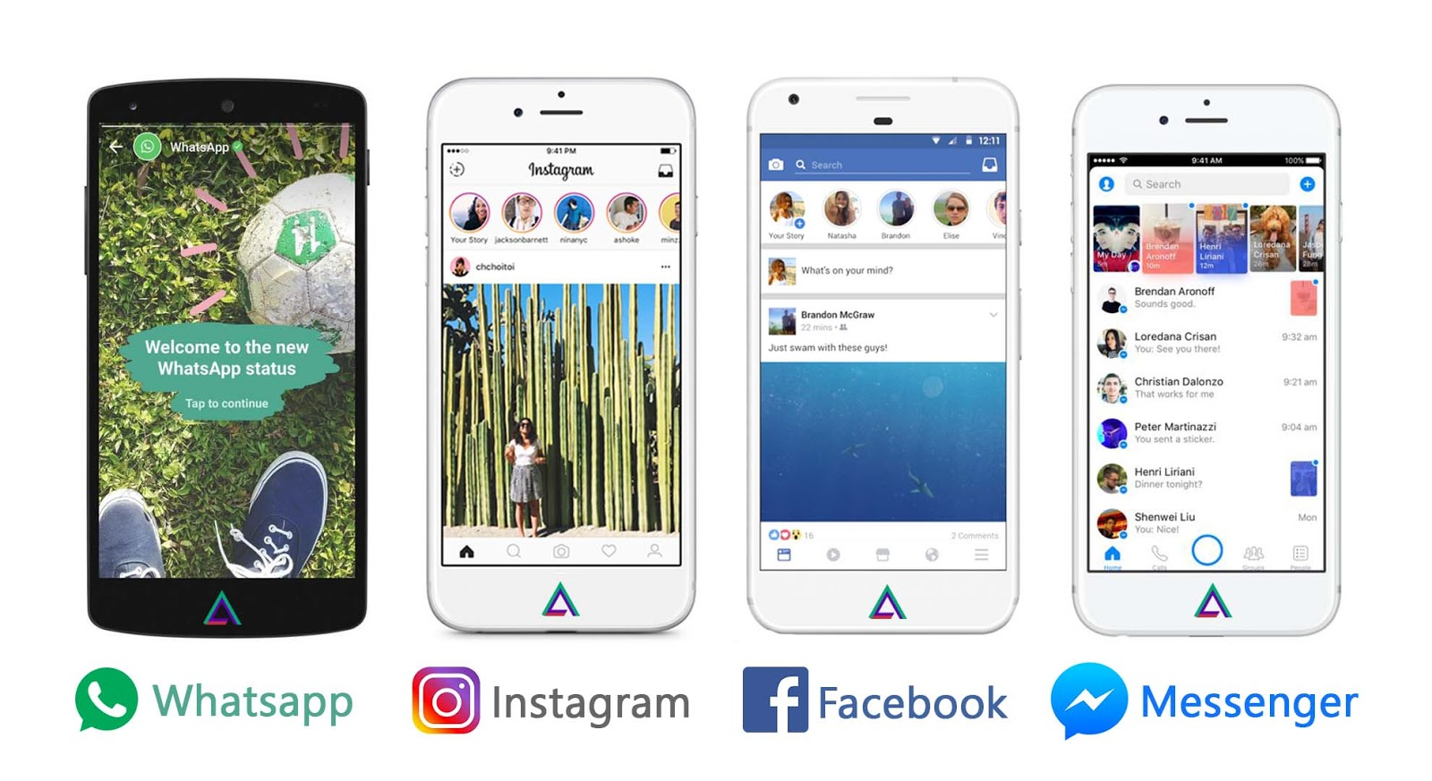 Whatsapp, Instagram, Facebook, Messenger Stories