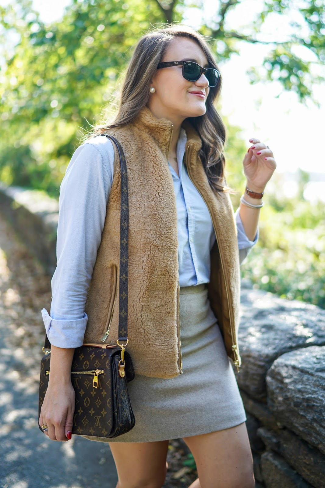 J. Crew Fleece Excursion Vest, Louis Vuitton Purse