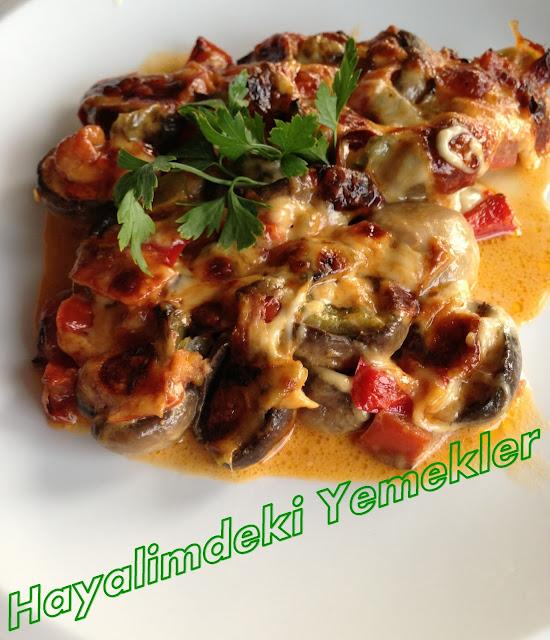 Fırında Sebzeli Kremalı Mantar tarifi resimli