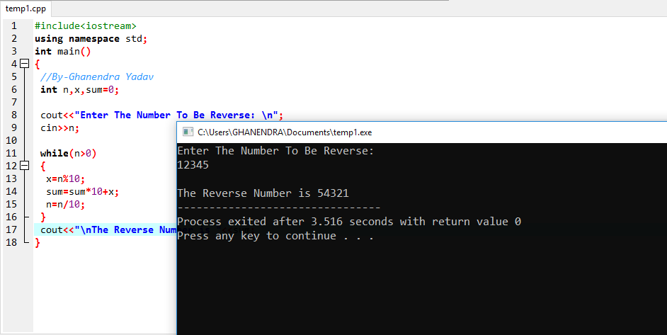 C++ Program To Print A Reverse Number Using Loop