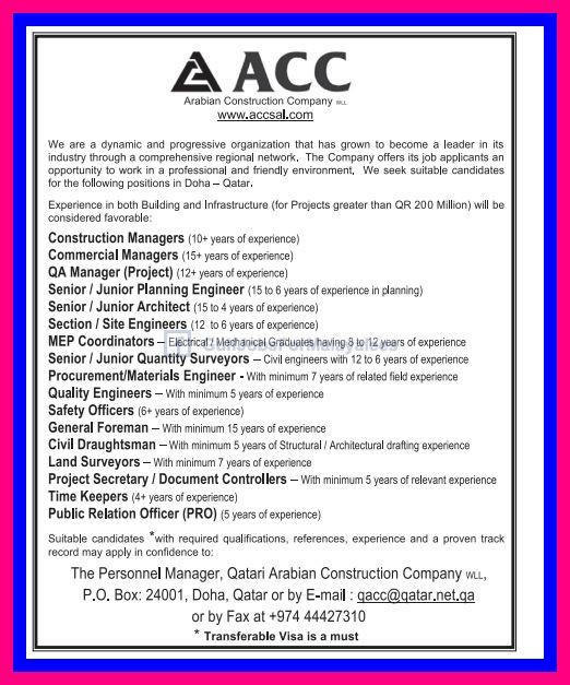 Arabian Construction Company Jobs