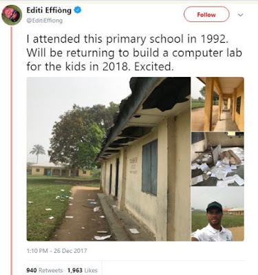 Good Nigerian Builds Computer Lab For His Former Primary School (Photos)