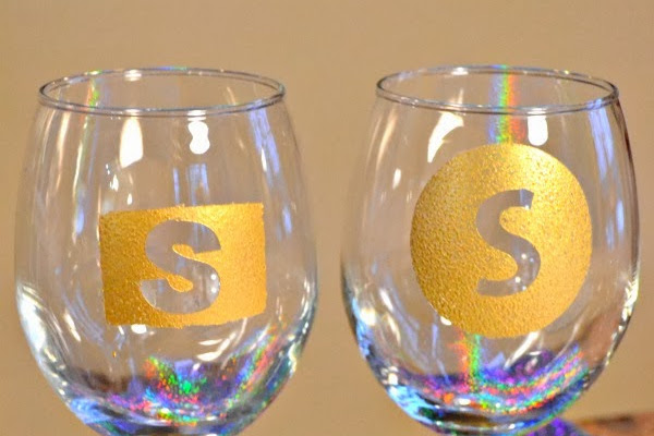 Monogrammed New Year's Eve Glasses