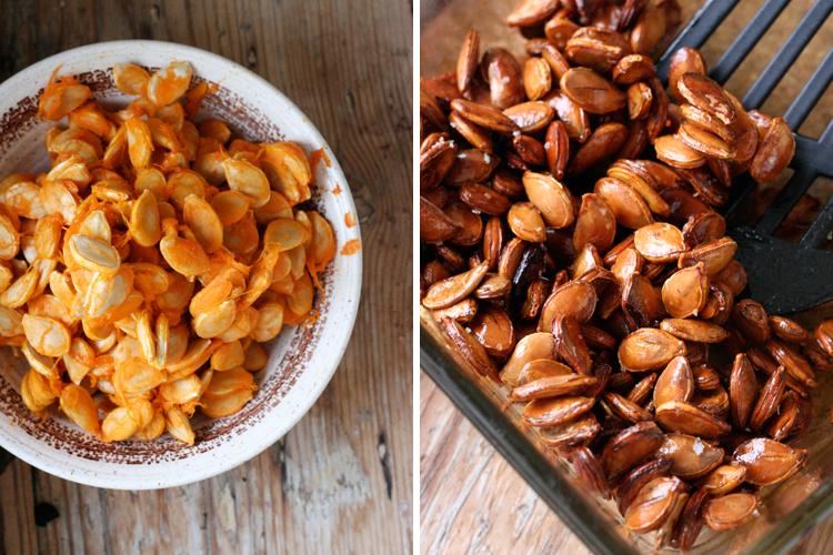 Knackige Kuerbiskerne mit Honig und Meersalz