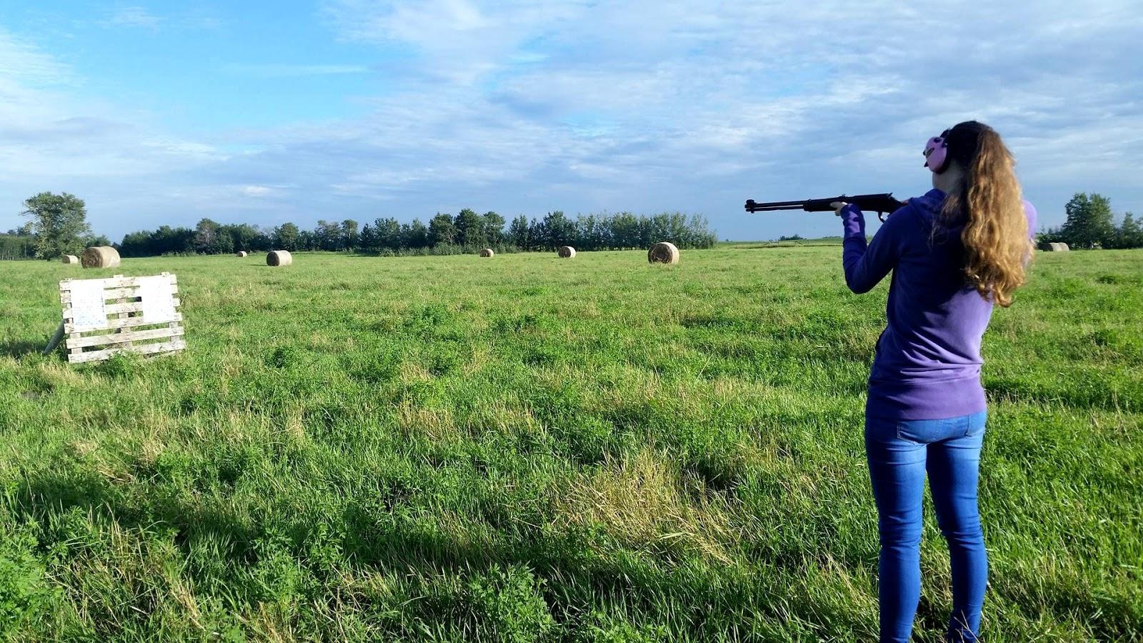 Farm Land near Edmonton Alberta Rifle Target Shooting
