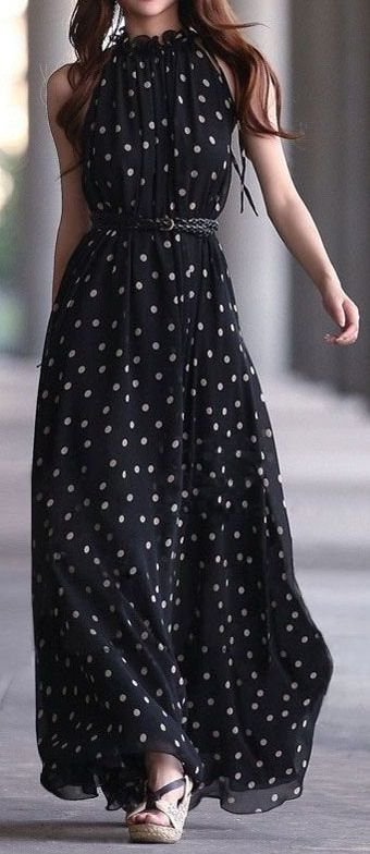 Women S Fashion Polka Dots Maxi Dress Just A Pretty Style
