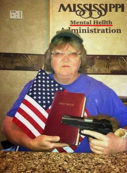 Mississippi Mental Hellth Administration Woman with Bible and gun picture