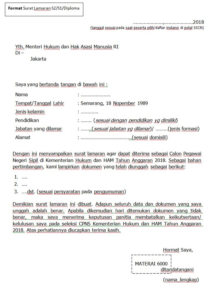 Format Terbaru Contoh Surat Lamaran / Pernyataan CPNS Kementerian Hukum dan HAM