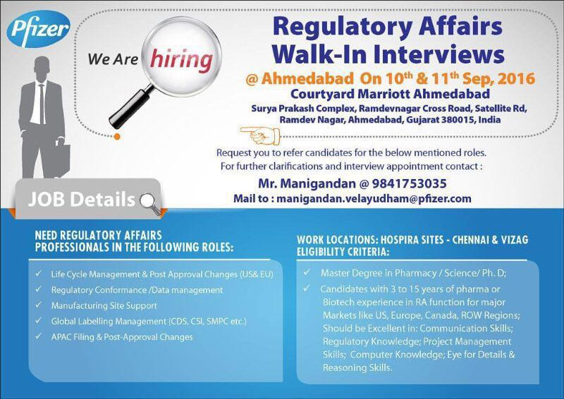 Walk in Interview of Pfizer on 10th and 11th September