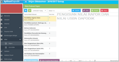 Cara Input/Mengisi Nilai Rapor dan USBN Dapodik 2019 (K13/KTSP)