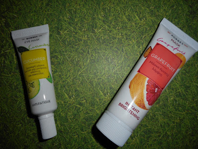 Korres Grapefruit Instant Brightening mask and Korres Cuccumber Eye Mask