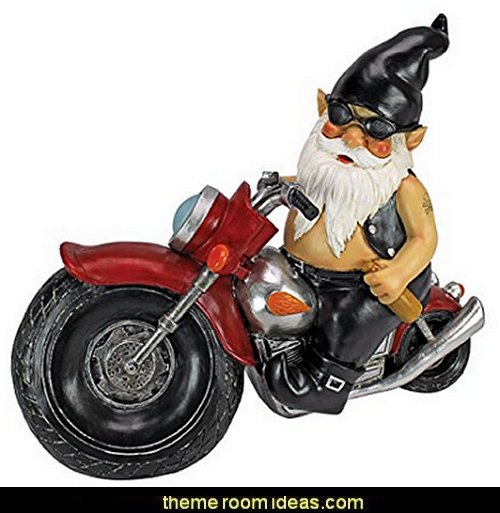 gnomes biker garden decor ideas decorating the garden - decorative garden accents - Outdoor Decor - garden ornaments - garden decorations - novelty Yard & Garden decor - fairy garden - Decorate the Patio - gifts for the home gardener - Patio Decor - garden patio furniture