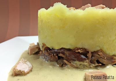 Recette de parmentier de confit de canard sauce foie gras, parmentier de canard, confit de canard, recette de sauce au foie gras, sauce au foie gras, écrasé de pommes de terre à l'huile de truffe, recette festive, recette du Sud-Ouest,