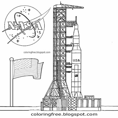 USA rocket launch Cape Canaveral space ship solar system coloring pages school education activities