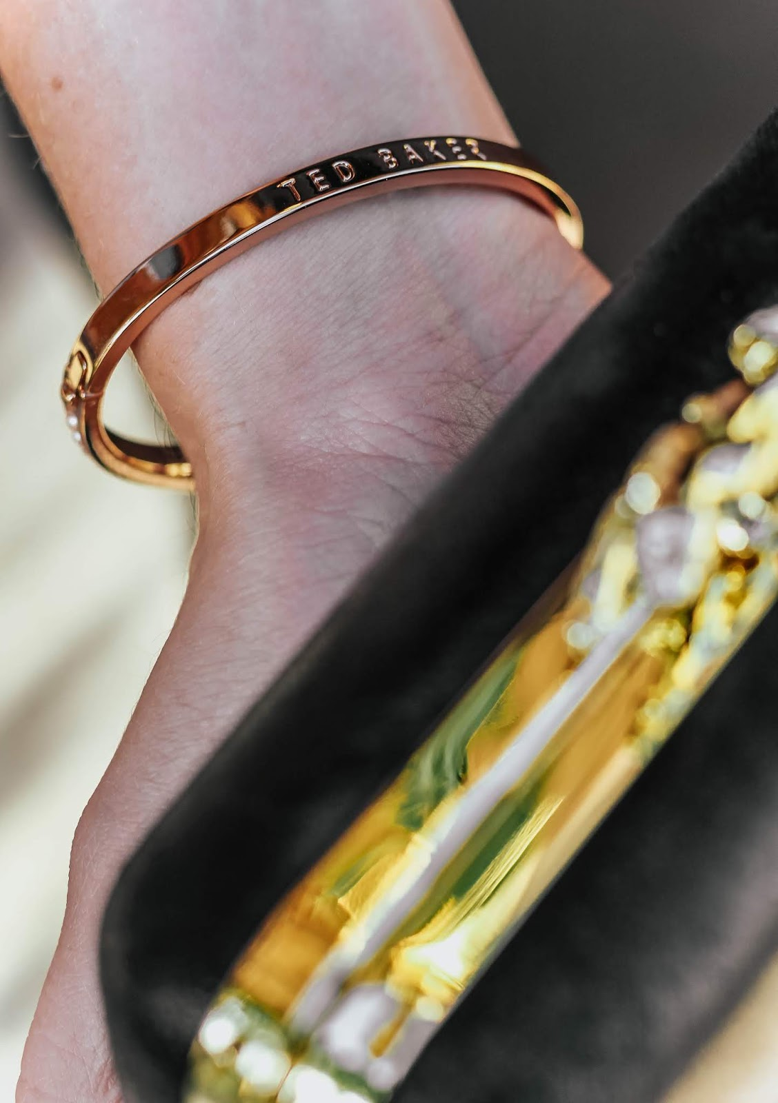 Ted Baker Clemara Faux Pearl Gold Bangle