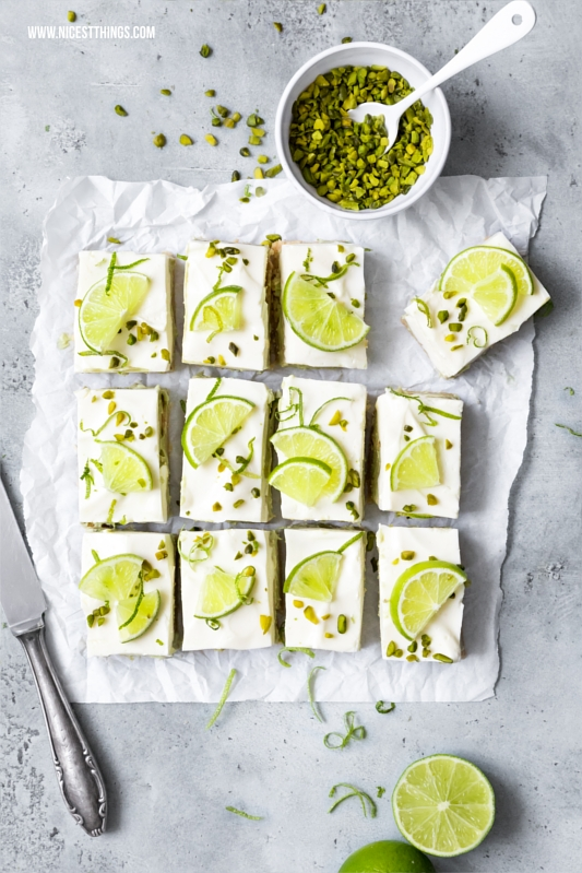 No Bake Cheesecake Bars Avocado Limetten Schnitten