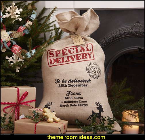 Vintage Noel Hessian Burlap Santa Sack Rustic Christmas decorating ideas - rustic Christmas decorations - Vintage - Rustic - Country style Christmas decorating - rustic Christmas decor - Christmas stockings