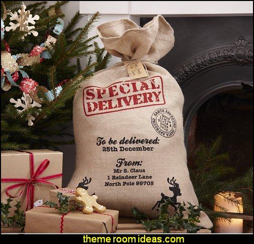 Vintage Noel Hessian Burlap Santa Sack Rustic Christmas decorating ideas - rustic Christmas decorations - Vintage - Rustic - Country style Christmas decorating - rustic Christmas decor - Christmas stockings
