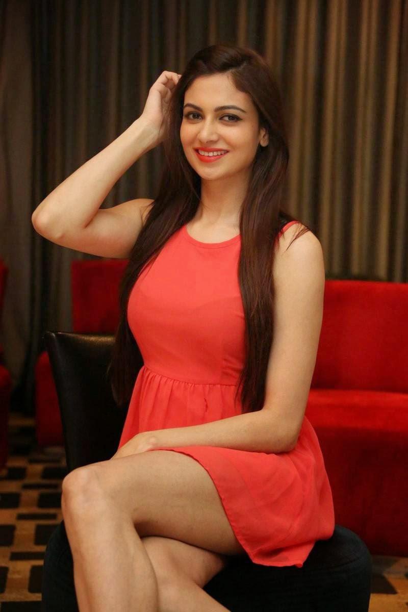 Actress Simran Kaur Mundi Pics, Simran Kaur Mundi Long Legs hot Pics in Red short Dress & Boots