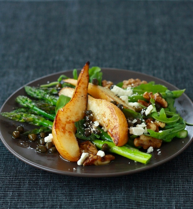Pear and Asparagus Salad with Caper Vinaigrette by SeasonWithSpice.com