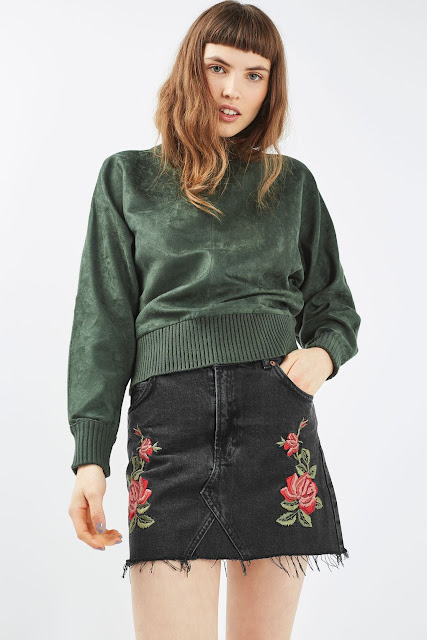 black embroidered denim skirt,