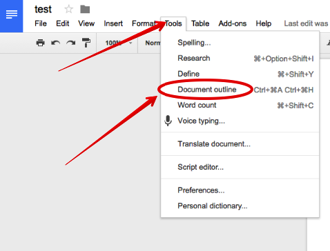 Document outline is an excellent new feature in google docs educational technology and mobile for Outline template google docs