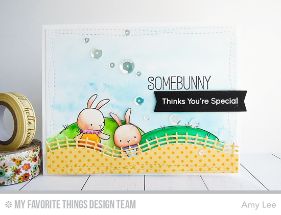 Somebunny Card by Amy Lee featuring the Birdie Brown Ewe Are the Best stamp set, the Birdie Brown Somebunny  stamp set and Die-namics, and the Wonky Stitched Rectangle STAX, Rolling Hills, and Tag Builder Blueprints 4 Die-namics #mftstamps