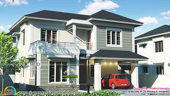 1820 square feet 3 bedroom sober color home design