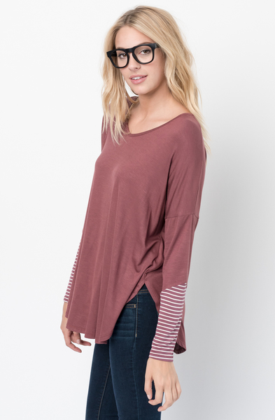 Buy Now Red brown V-Neck Striped Panel Sleeve Tunic Online - $34 -@caralase.com