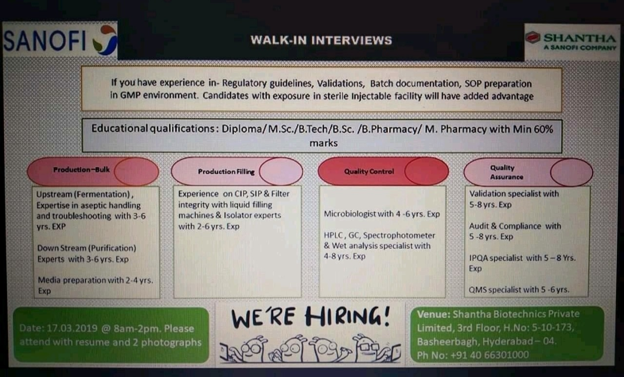 SANOFI WALK-IN INTERVIEWS on 17 March 2019@ Hyderabad - Biotech Jobs