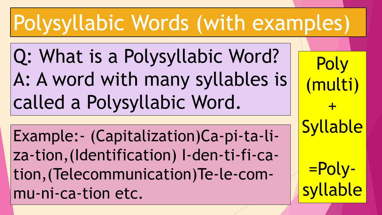 Syllable And Syllabic Words