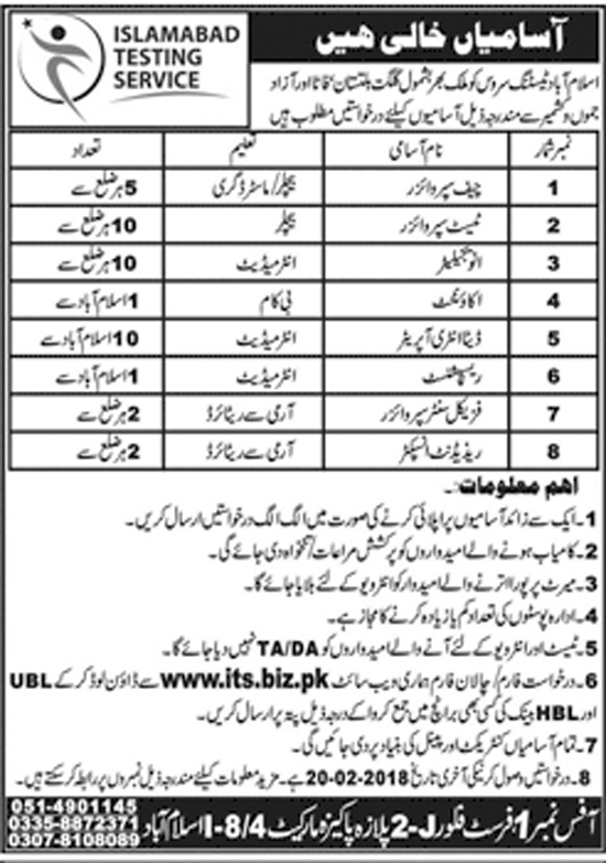 Jobs in Islamabad Testing Service ITS Feb 2018