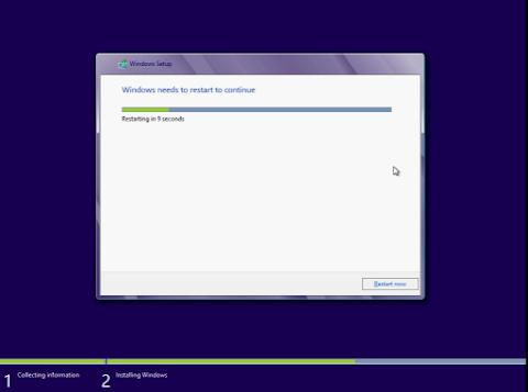 Instalasi Windows 8 me-restart Komputer secara otomatis, klik Restart now jika tidak sabar.