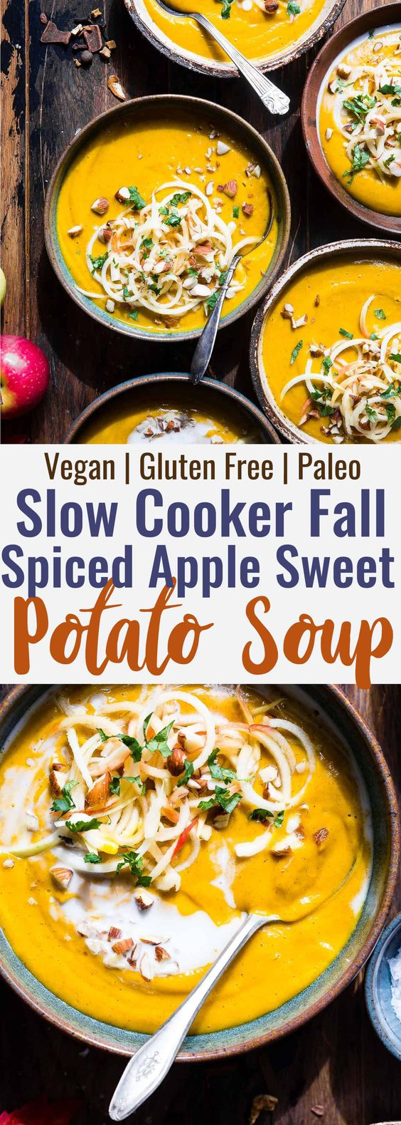 BEST CREAMY HEALTHY FALL VEGAN SWEET POTATO SOUP IN THE SLOW COOKER