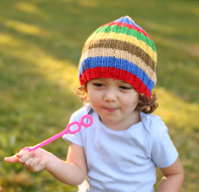 Toddler Stripe Slouch Beanie Free Knitting Pattern by Gina Michele