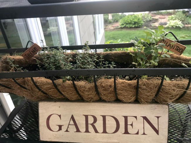 DIY garden sign for a baker's rack herb garden