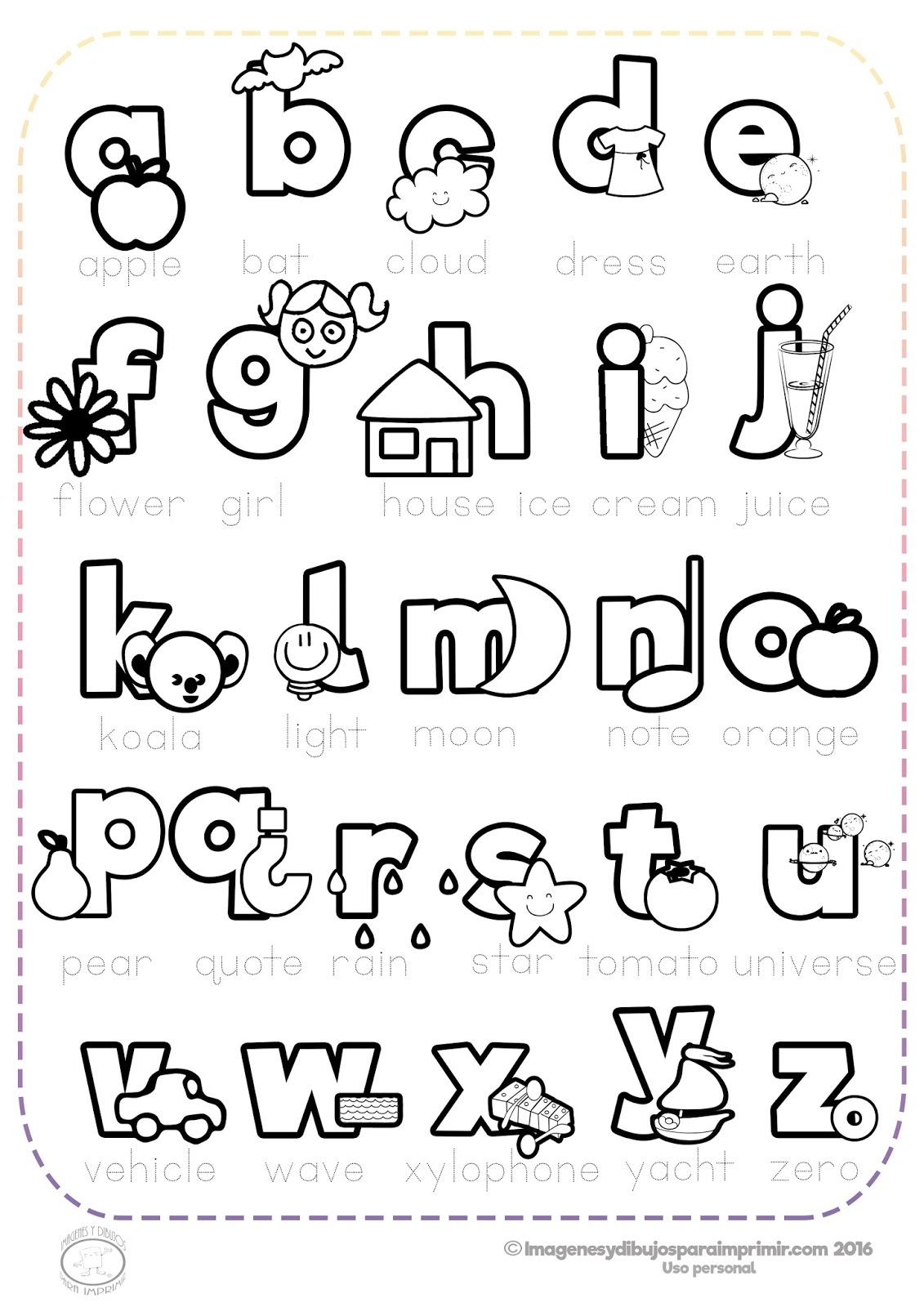 Abecedario En Inglés Para Imprimir Y Colorear Imagenes Y Dibujos