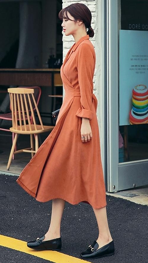 Notch Collar Wrap Midi Dress