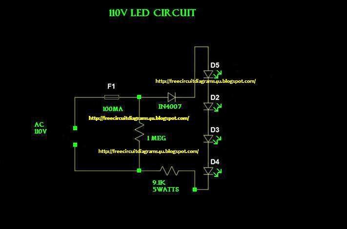 FREE CIRCUIT DIAGRAMS 4U: 110V LED light circuit diagram