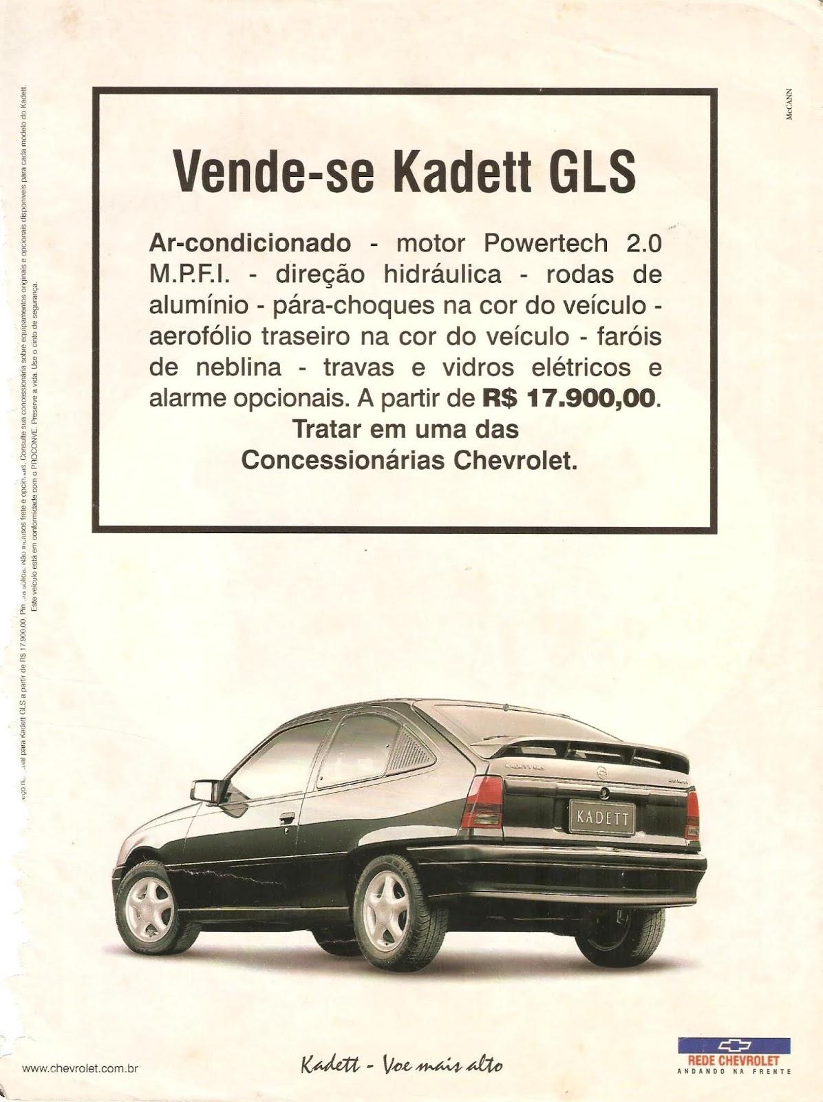 Campanha publicitaria do Kadett em 1998 apresentando a versão GLS do automóvel