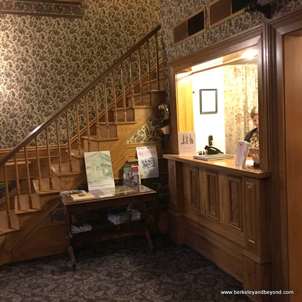 front desk at the Fallon Hotel in Columbia State Historic Park in California